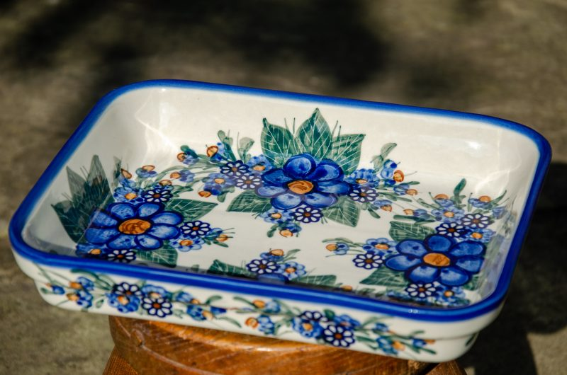 Blue Flower Garden Shallow Oven Dish by Ceramika Andy Polish Pottery