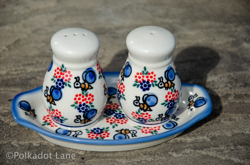 Polish Pottery Bumble Bee Pattern Salt and Pepper Pot Set Ceramika Andy Unikat