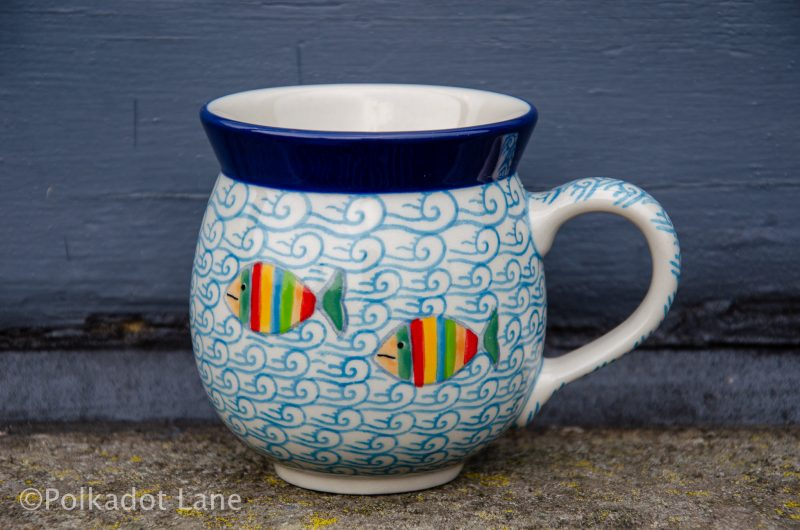 Fish in the Sea Pattern Mug by Ceramika Artystyczna Polish Pottery