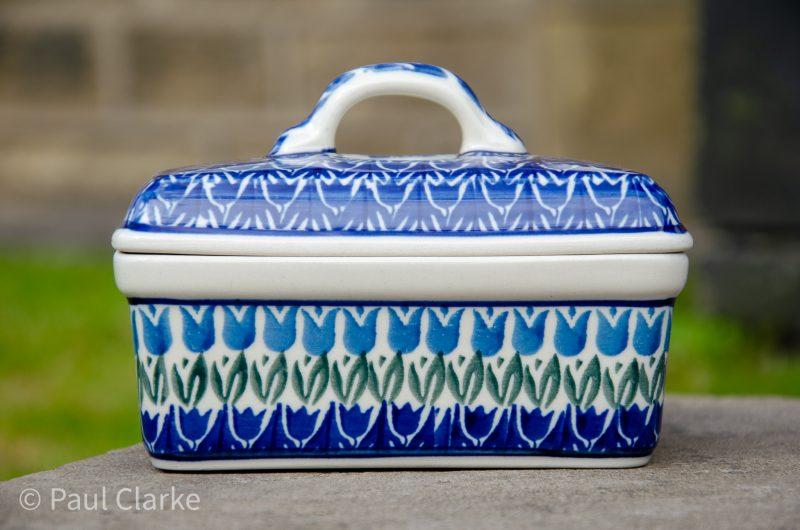 Blue Tulip Butter Box by Ceramika Artystyczna Polish Pottery