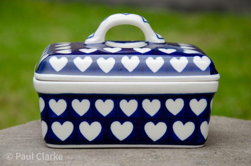 Hearts Pattern Butter Box by Ceramika Artystyczna Polish Pottery