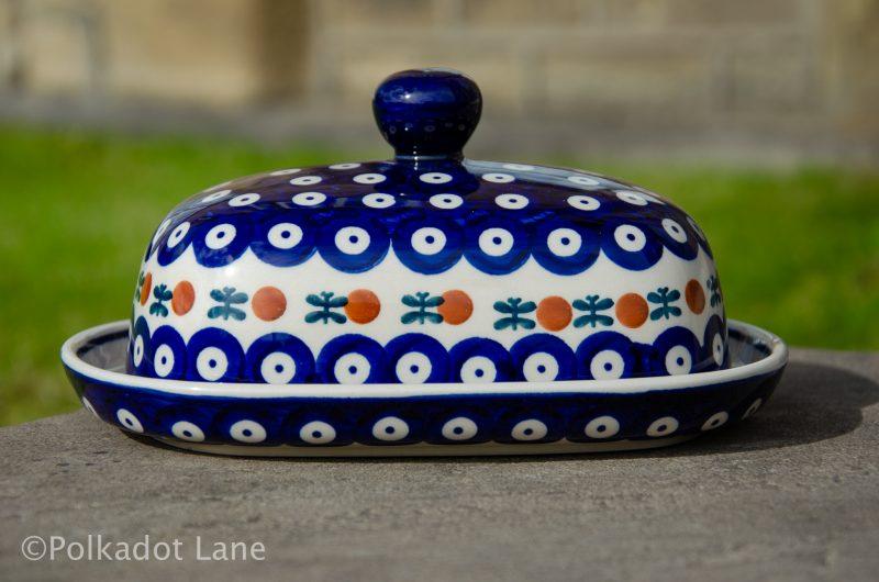 Polish Pottery Fern Spotty Butter Dish from Polkadot Lane UK