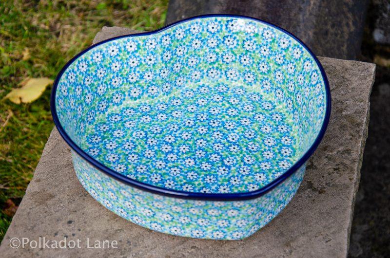 Turquoise Daisy Large Heart Dish by Ceramika Artystyczna Polish Pottery