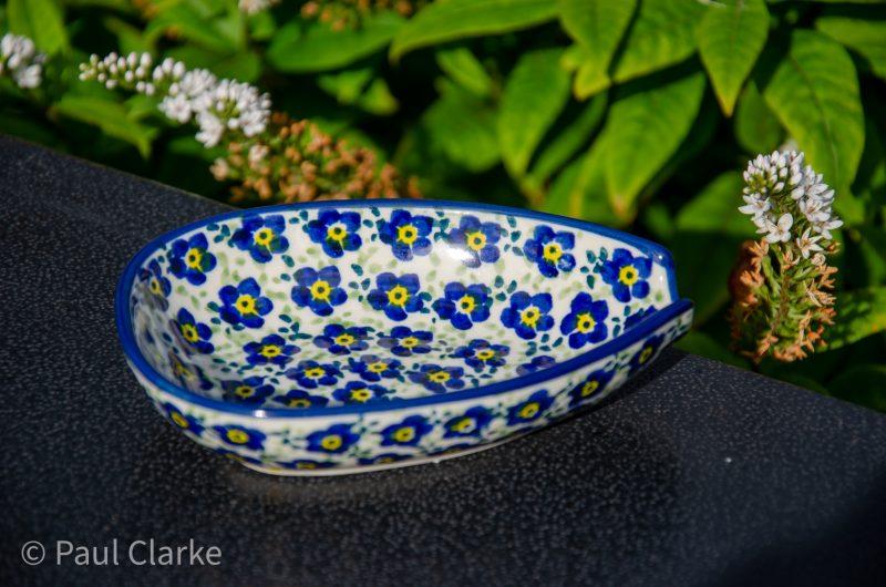 Polish Pottery Ditzy Blue Flower Spoon Rest by Ceramika Manufaktura