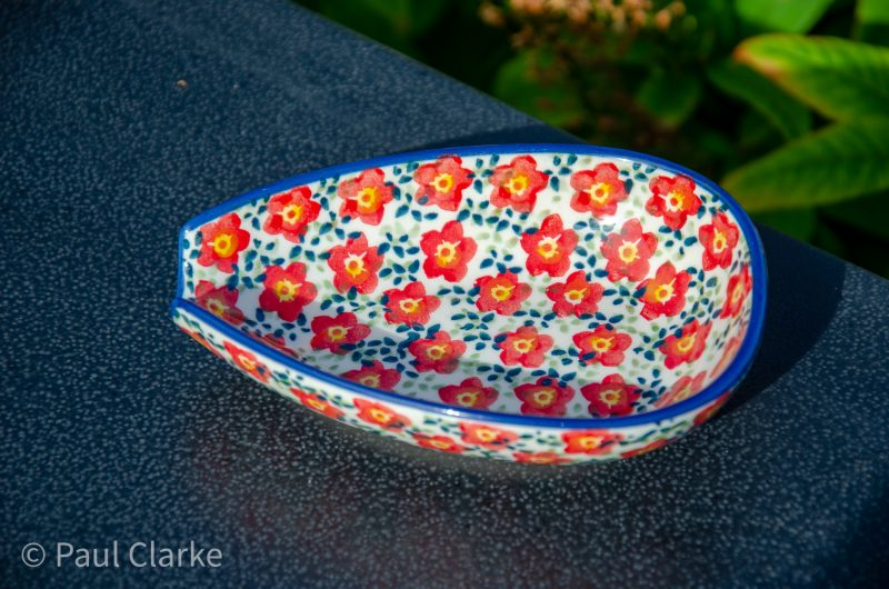 Ditzy Red Flower Spoon Rest Unikat by Ceramika Manufaktura