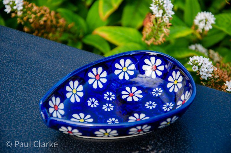 Polish Pottery Midnight Daisy Spoon Rest Ceramika Manufaktura