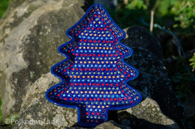 Neon Unikat Pattern Christmas Tree Dish by Ceramika Manufaktura