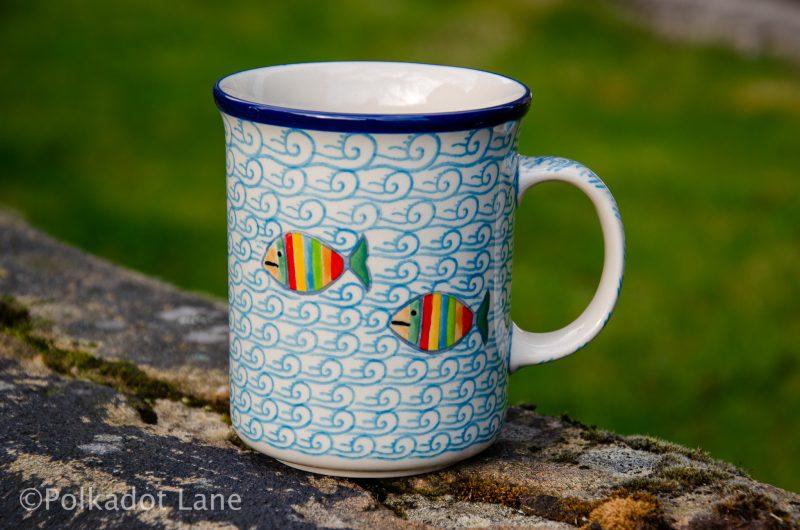 Fish in The Sea Pattern Large Tea Mug by Ceramika Artystyczna Polish Pottery