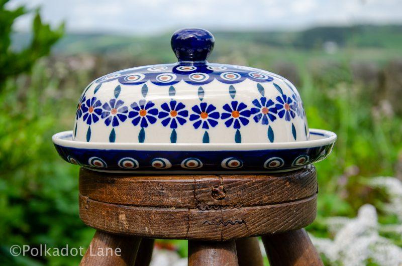 Peacock Daisy Butter Dish by Ceramika Manufaktura Polish Pottery