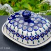 Butter Dish Peacock Flower Pattern Polish Pottery
