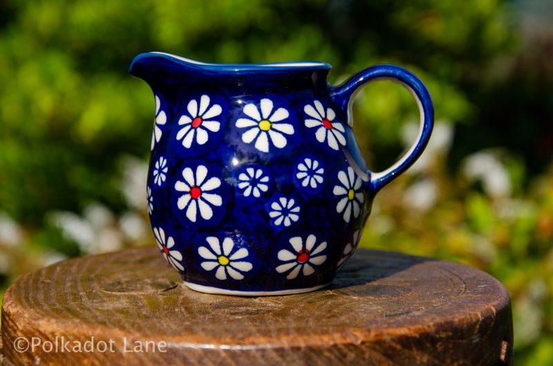 Midnight Daisy Small Milk Jug by Ceramika Manufaktura Polish Pottery