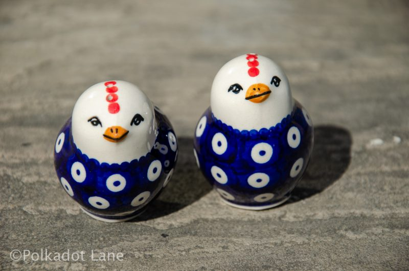 Blue Spotty Salt and Pepper Chickens by Ceramika Manufaktura