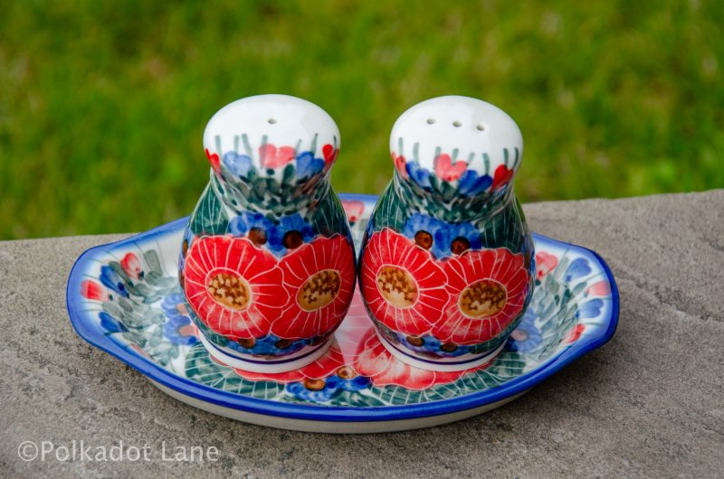 Polish Pottery Red Flower Garden Unikat Salt and Pepper Pots Set From Polkadot Lane UK