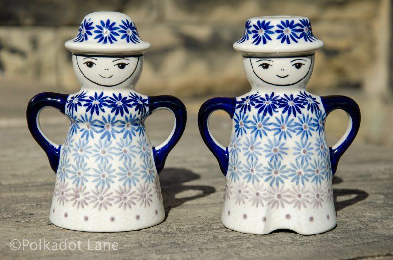 Polish Pottery Fading Flower Salt and Pepper Pots From Polkadot Lane UK
