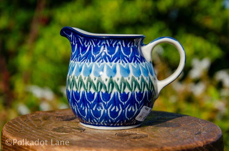 Polish Pottery Blue Tulip Small Milk Jug from Polkadot Lane UK