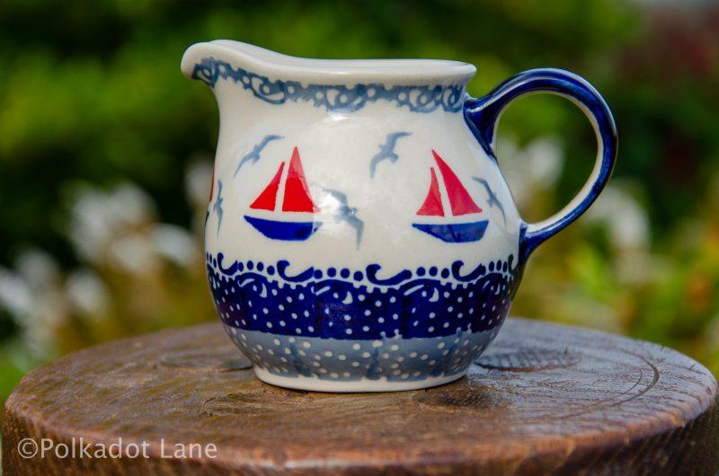 Boats Pattern Small Milk Jug buy Ceramika Manufaktura Boleslawiec Polish Pottery