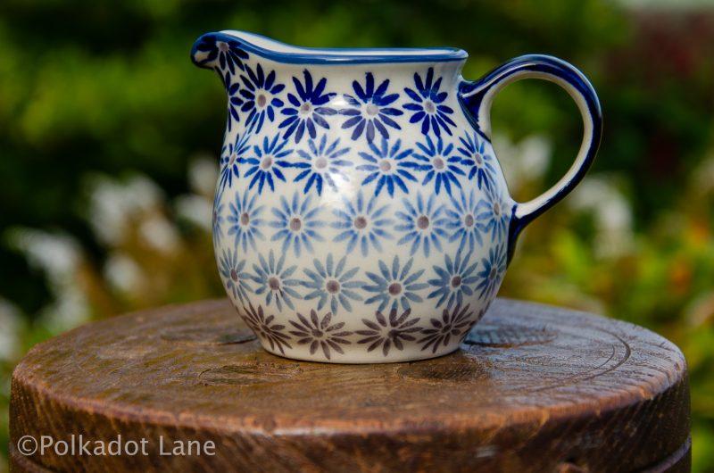 Fading Flower Polish Pottery Small Milk Jug from Polkadot Lane UK