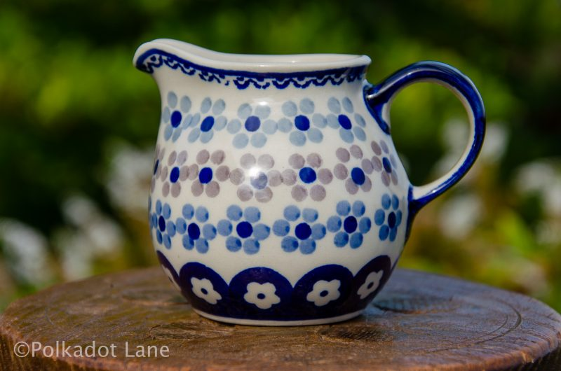 Polish Pottery Spotty Flowers Pattern Small Milk Jug from Polkadot Lane