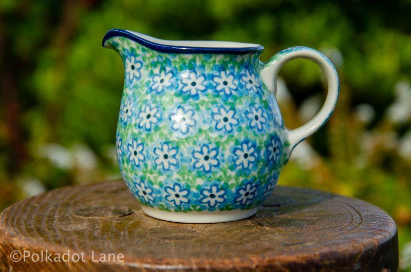 Turquoise Daisy Small Milk Jug by Ceramika Artystyczna Polish Pottery. From Polkadot Lane
