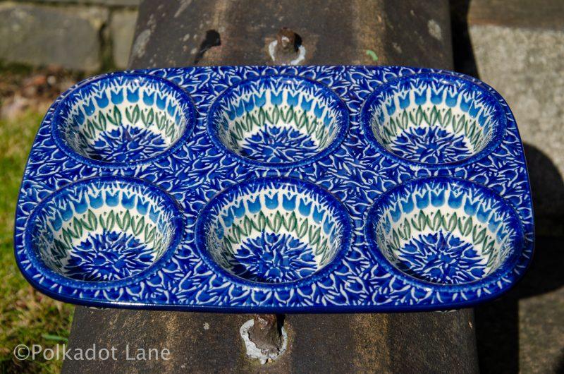Polish Pottery Blue Tulip Yorkshire Pudding Dish from Polkadot Lane UK