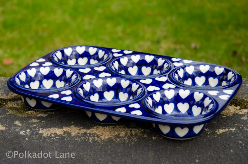 Hearts pattern Yorkshire Pudding Dish By Ceramika Artystyczna Polish Pottery