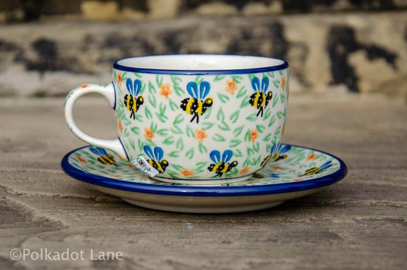 Polish Pottery Cup and Saucer Bee Pattern From Polkadot Lane UK