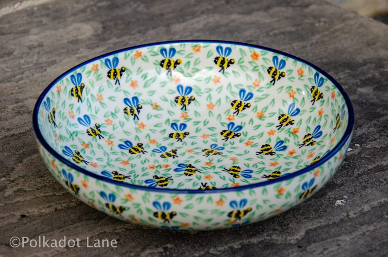 Polish Pottery Bee Pattern Salad Bowl from Polkadot Lane UK