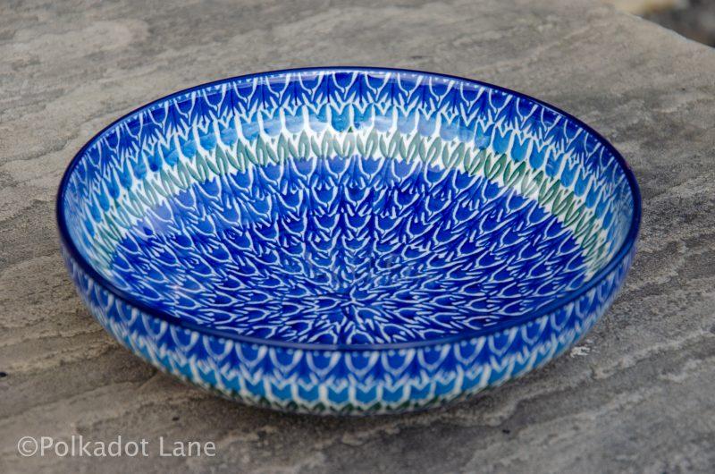Polish Pottery Blue Tulip Salad Bowl