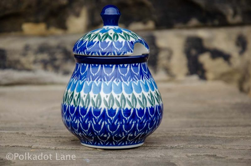 Polish Pottery Blue Tulip Sugar Bowl from Polkadot Lane UK