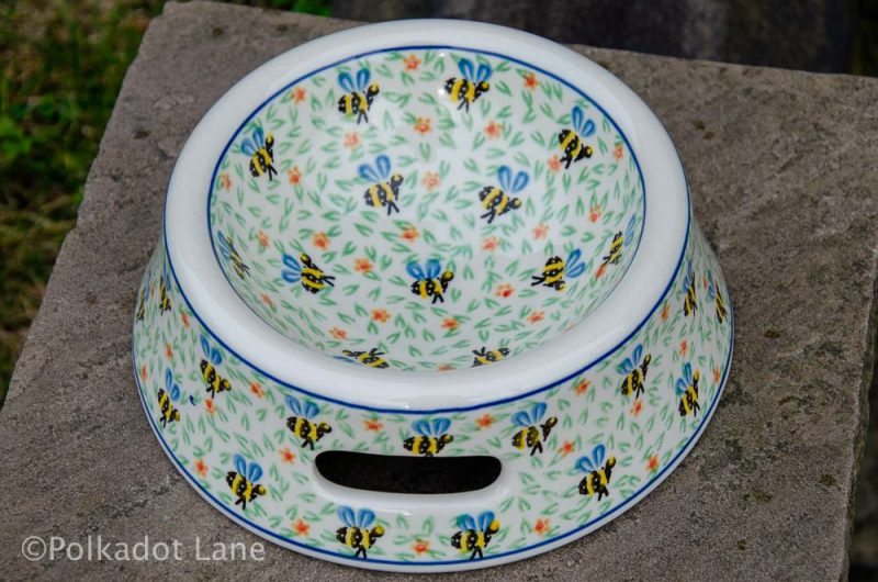 Bee Pattern Dog Bowl from Polkadot Lane Polish Pottery