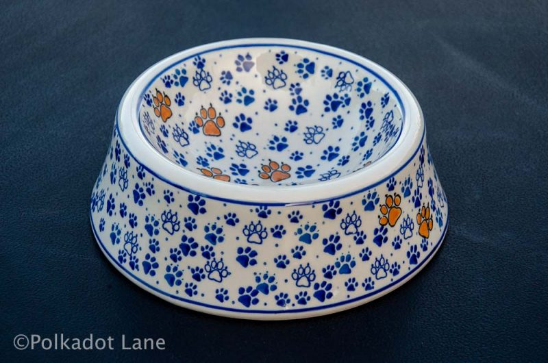 Dog Bowl Paw Pattern Polish Pottery from Polkadot Lane UK