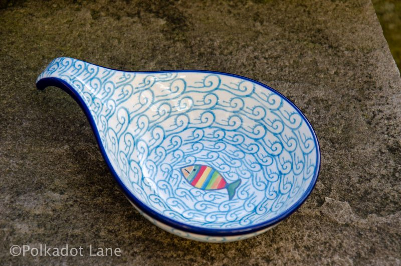 Fish in the Sea pattern Polish Pottery Nibble Dish from Polkadot Lane UK