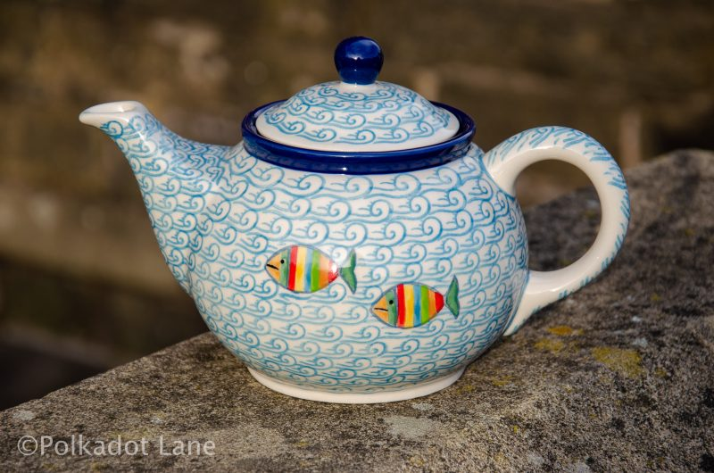 Fish in the Sea Pattern Teapot from Polkadot Lane Polish Pottery
