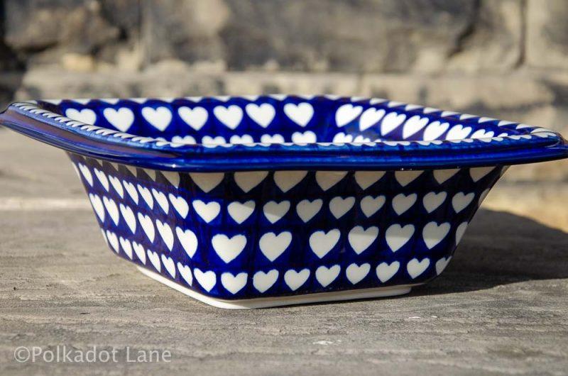 Square Serving Bowl Hearts Pattern from Polkadot Lane Polish Pottery