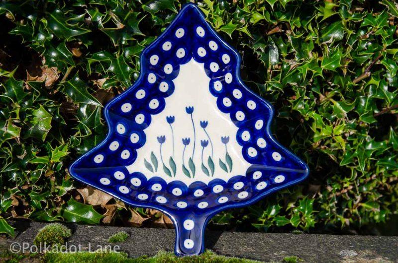 Flower Spot Christmas Tree Plate from Polkadot Lane UK