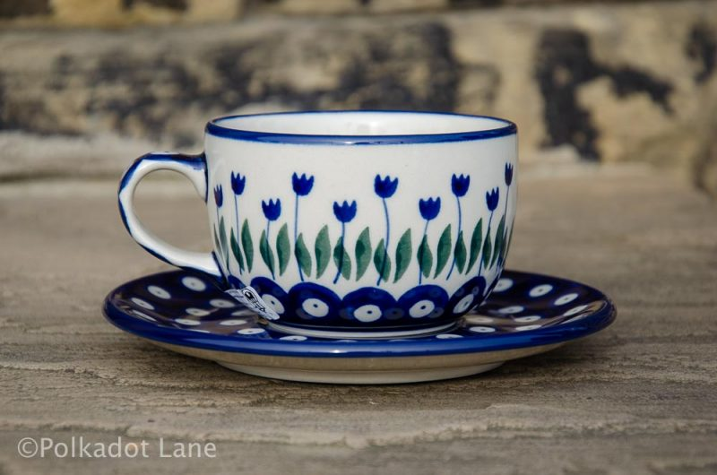 Cup and Saucer Flower Spot from Polkadot Lane Polish Pottery