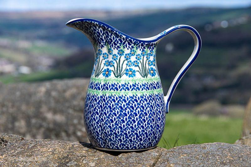 Forget Me Not Polish Pottery Large Jug by Ceramika Artystyczna