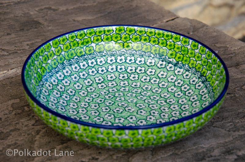 Salad Bowl Green Meadow Pattern Polish Pottery