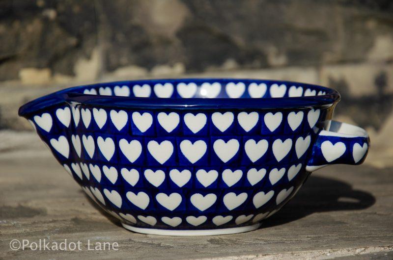 Hearts Pattern Mixing bowl From Polkadot Lane Polish Pottery