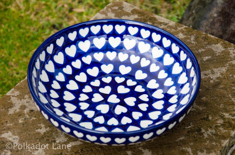 Polish Pottery Hearts Pattern Salad Bowl From Polkadot Lane UK