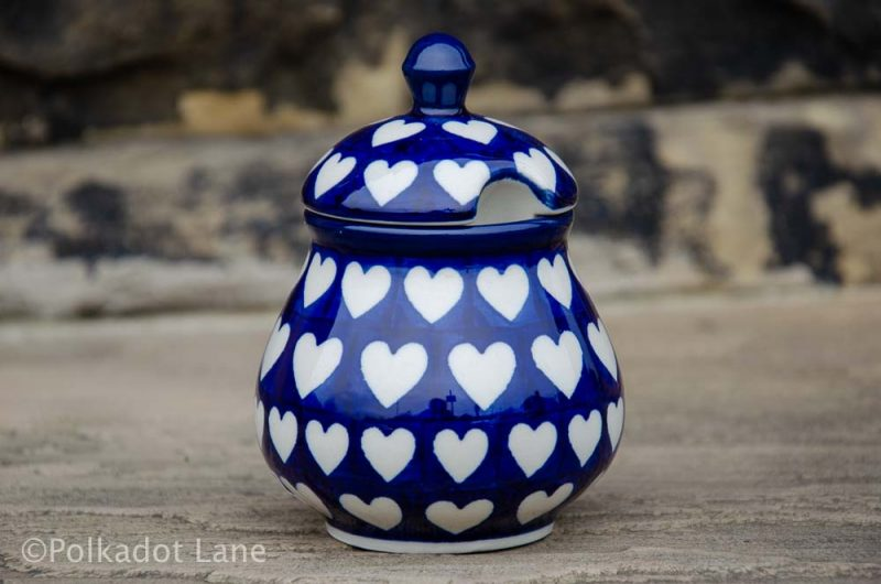 Hearts Sugar Bowl Ceramika Artystyczna Polish pottery from Polkadot Lane