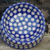 Snow Daisy Dog Bowl Polish Pottery from Polkadot Lane UK