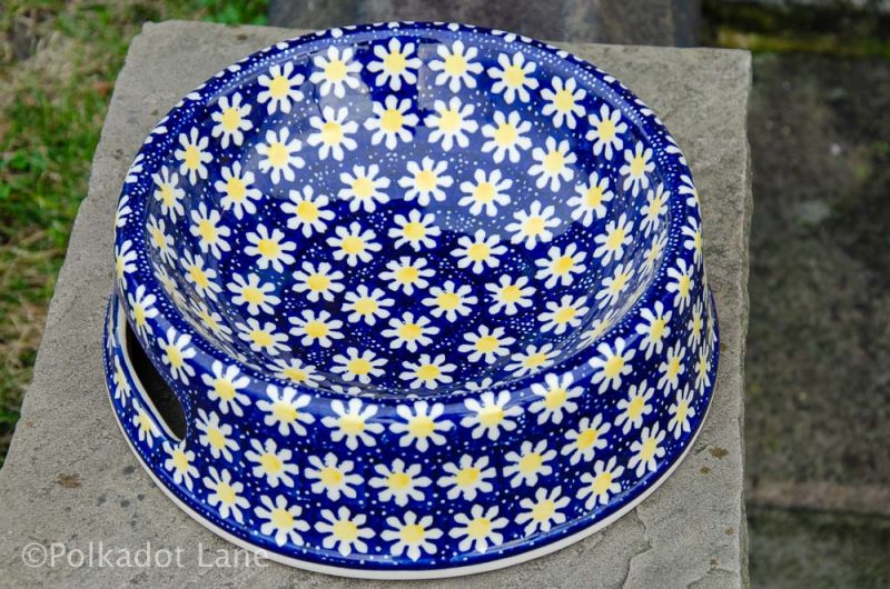 Polish Pottery Snow Daisy Dog Bowl by Ceramika Manufaktura