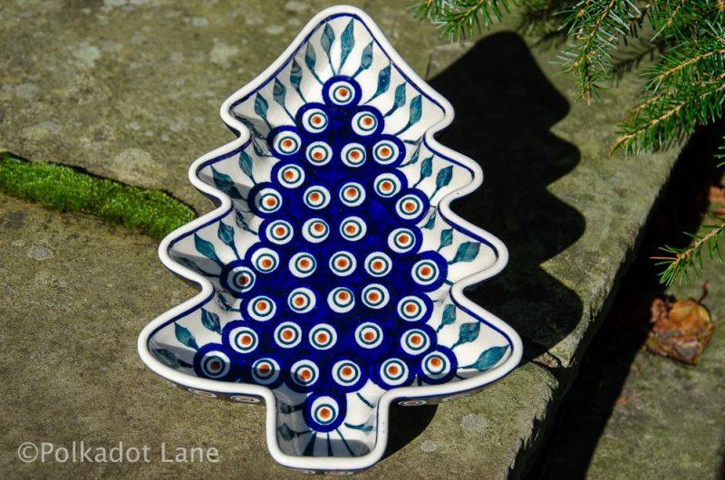 Peacock Leaf Christmas Tree Dish from Polkadot Lane UK