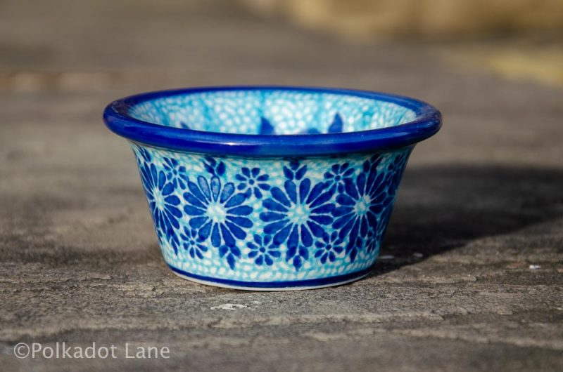 Blue Flower Polish Pottery Small Dip Bowl from Polkadot Lane UK