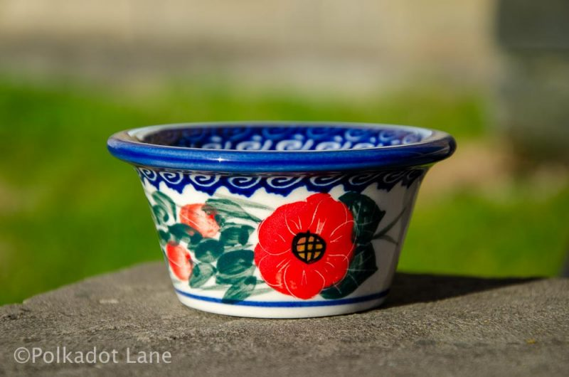 Red Flower Swirl Small Dip Bowl Polish Pottery from Polkadot Lane