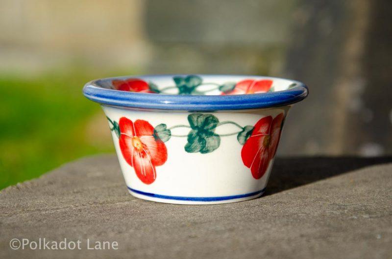 Red Pansy Dip Bowl from Polkadot Lane Polish Pottery