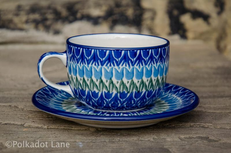 Blue Tulip Cup and Saucer Polkadot Lane Polish Pottery