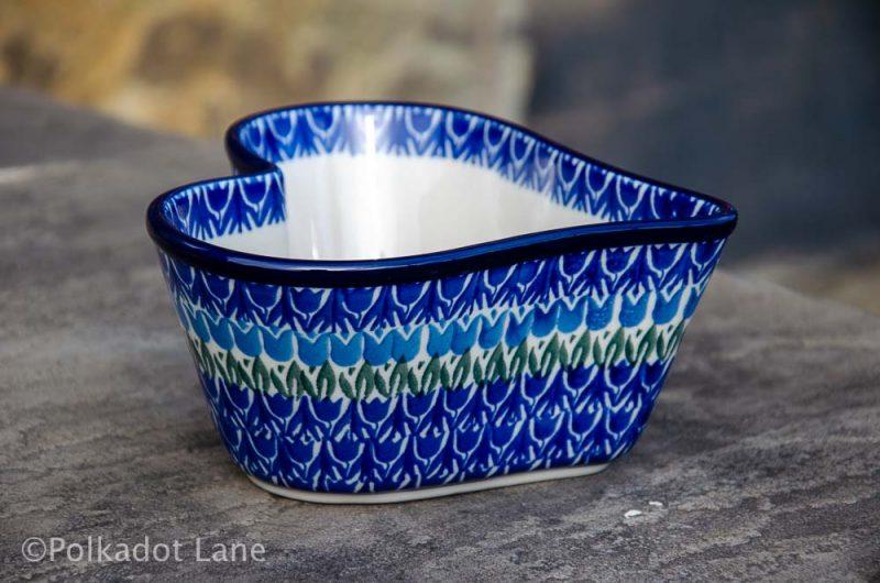 Blue Tulip Small Heart Dish Ceramika Artystyczna Polish Pottery