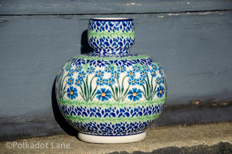 Ceramika Artystyczna Vase Bulb Shape Forget Me Not Pattern Polish Pottery